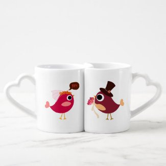 Customised Love Birds Bride and Groom Lovers Mugs