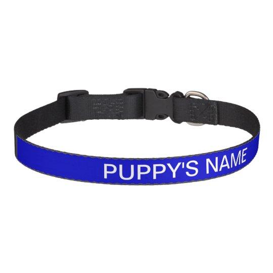 Customised Medium Blue Classic Solid Colour Pet Collar