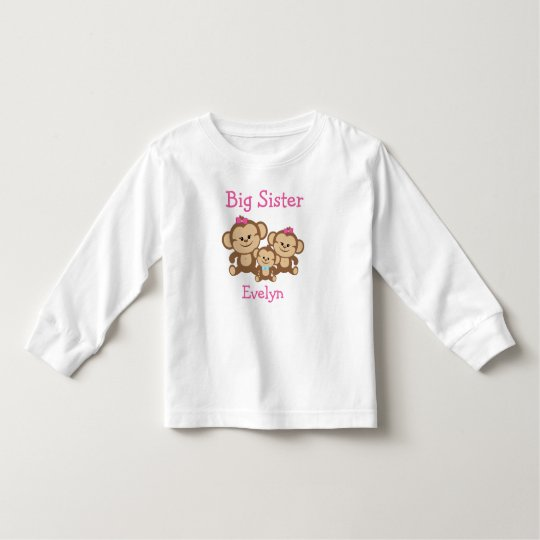 Customised Monkeys Big Sister Toddler T-Shirt
