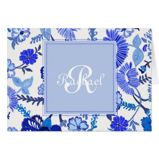 Customised Monogram Note Card | Dusty Blues