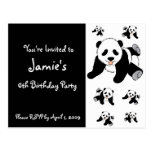Customised Panda Bear Children's Party Invitations Postcard