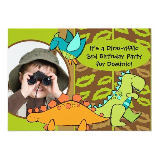 Customised Photo Dino Dinosaur Birthday Invitation