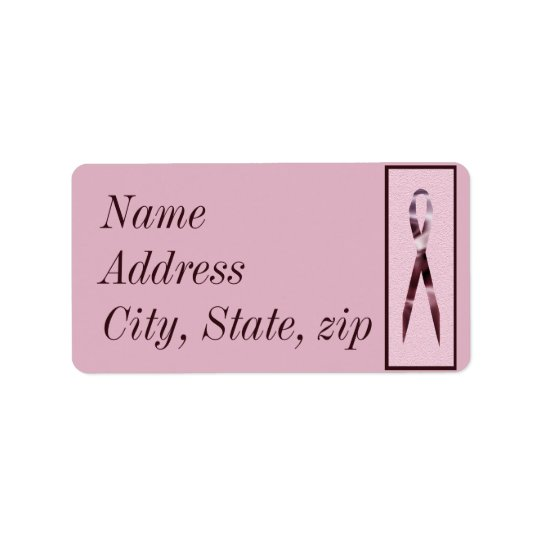 Customised Pink Ribbon Address Label