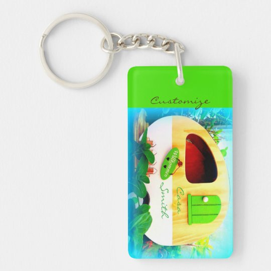 Customised retro camper casa key ring