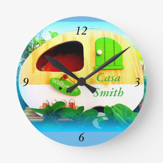 Customised Retro Vintage camper blue Round Clock