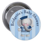 Customised Sailor Elephant Baby Shower Button