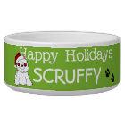 Customised Santa Dog Happy Holidays Dog Dish