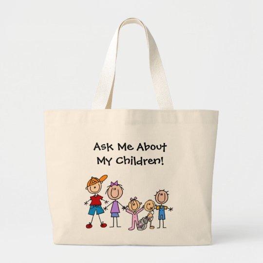 Customised Stick Figure Kids Family Tote Bag