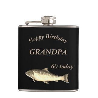Customised Trout  Happy 60th Birthday Grandpa Flask
