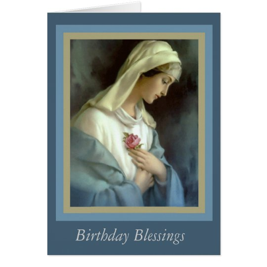 Customised Virgin Madonna Mary with rose Card