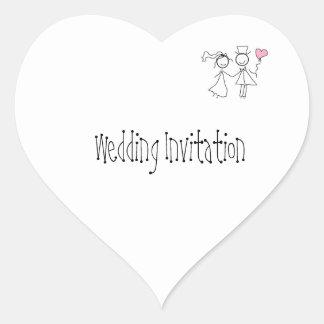 Customised Wedding Invitation Seals Heart Sticker