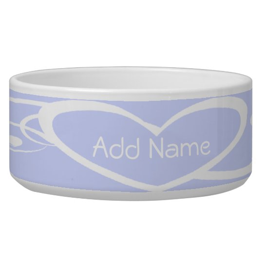Customised White Heart on Lilac Dog Bowl