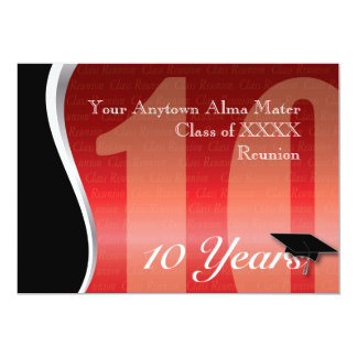 Customizable 10 Year Class Reunion 13 Cm X 18 Cm Invitation Card