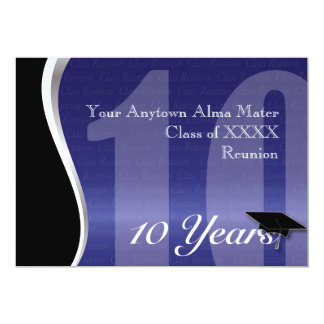 Customizable 10 Year Class Reunion 5x7 Paper Invitation Card