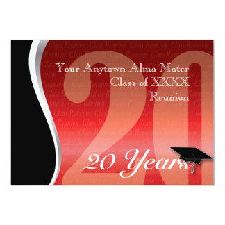 Customizable 20 Year Class Reunion 13 Cm X 18 Cm Invitation Card
