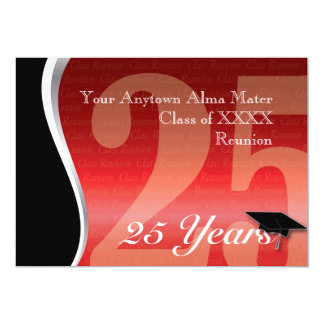 Customizable 25 Year Class Reunion 13 Cm X 18 Cm Invitation Card