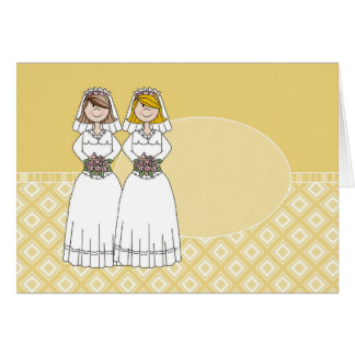 Customizable 2 Brides Gold Oval Card 2
