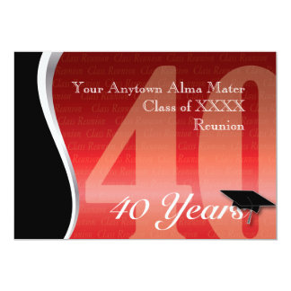 Customizable 40 Year Class Reunion 13 Cm X 18 Cm Invitation Card