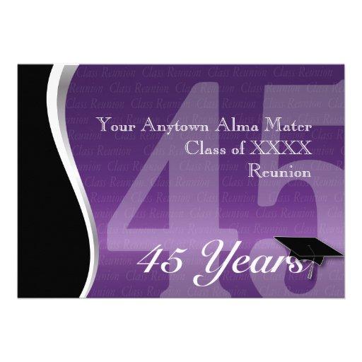Customizable 45 Year Class Reunion Invites
