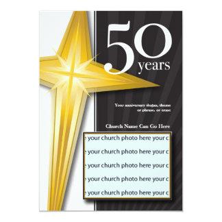 Customizable 50 Year Church Anniversary 13 Cm X 18 Cm Invitation Card