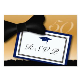 "Customizable 50 Year Class Reunion RSVP Blue 3.5"" X 5"" Invitation Card"