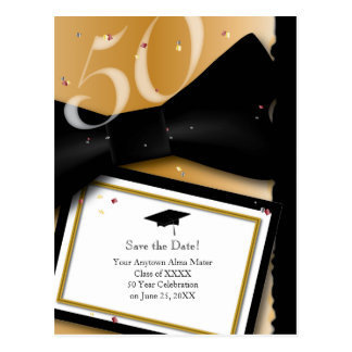 Customizable 50 Year Class Reunion Save the Date Postcard
