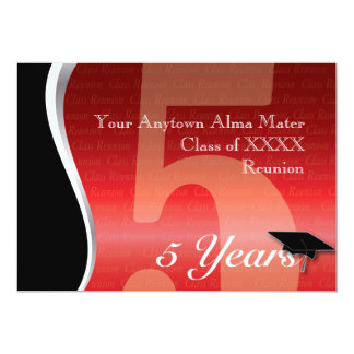 Customizable 5 Year Class Reunion 13 Cm X 18 Cm Invitation Card