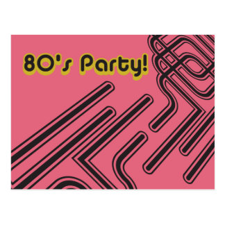 Customizable 80's Party Invitation Postcard