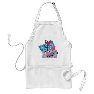 Customizable Abstract Flower Heart Design Adult Apron