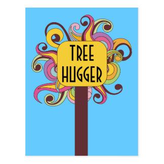 Customizable Abstract Tree Hugger Postcard