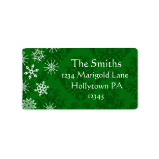 Customizable Address Labels Green Holiday