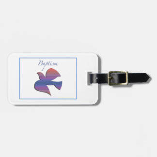 Customizable, Adult Baptism Dove Luggage Tag
