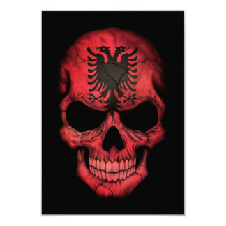 Customizable Albanian Flag Skull 9 Cm X 13 Cm Invitation Card