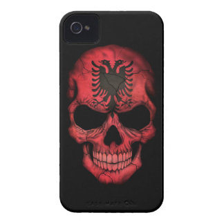 Customizable Albanian Flag Skull Case-Mate iPhone 4 Cases