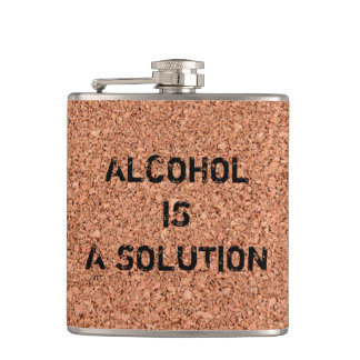 """Customizable """"Alcohol is a Solution"""" Funny Hip Flask"""