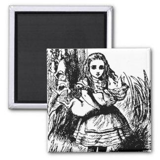 Customizable Alice & Piglet in Wonderland Square Magnet
