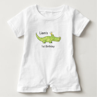 Customizable Alligator 1st Birthday Romper Baby Bodysuit