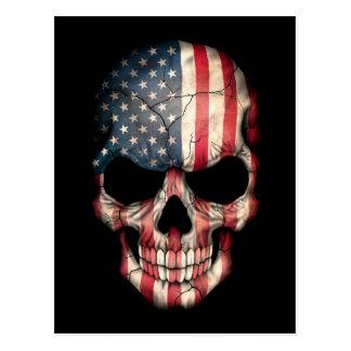 Customizable American Flag Skull Postcard