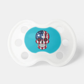 Customizable American Flag Sugar Skull with Roses Dummy