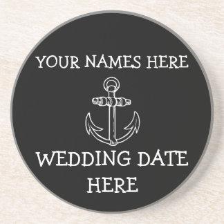 Customizable Anchor Wedding Coaster