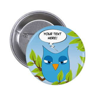 Customizable angry little owl - multiple colors 6 cm round badge