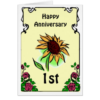 Customizable anniversary card -sunflower