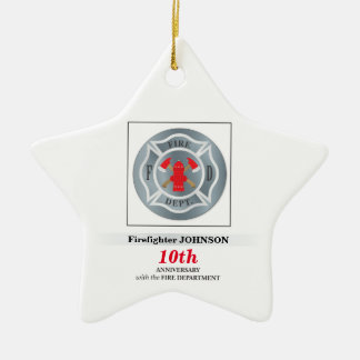 Customizable, Anniversary with Fire Department Christmas Ornament