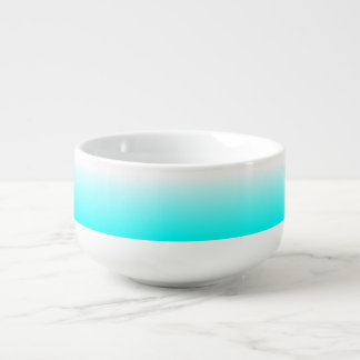 Customizable Aqua Ombre Soup Bowl With Handle