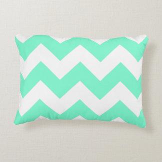 Customizable Aquamarine Zigzag Pattern Decorative Cushion