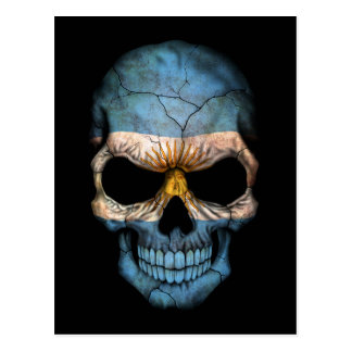 Customizable Argentine Flag Skull Postcard