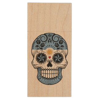 Customizable Argentinian Sugar Skull with Roses Wood USB 2.0 Flash Drive