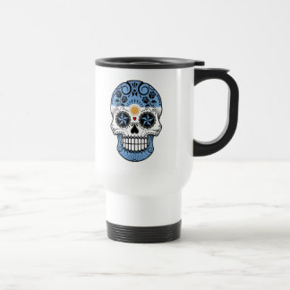 Customizable Argentinian Sugar Skull with Roses Coffee Mugs