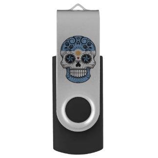 Customizable Argentinian Sugar Skull with Roses Swivel USB 2.0 Flash Drive