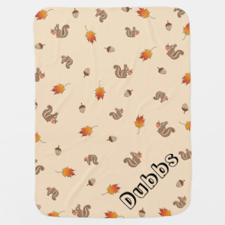 Customizable Autumn Squirrel Buggy Blankets